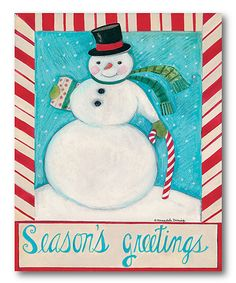 Love this Seasons Greetings Snowman Wrapped Canvas on #zulily! #zulilyfinds