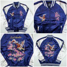 Vintage Japanese Japan Royal Blue Sakura Cherry Blossoms Eagle Last Frontier Tattoo Art Embroidery Embroidered Bomber Sukajan Souvenir Jacket (SIZE: L) - Japan Lover Me Store