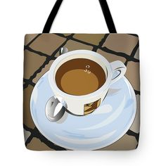 Morning Espresso Tote Bag by Marina Usmanskaya for home decor.   The tote bag is machine washable, available in three different sizes, and includes a black strap for easy carrying on your shoulder.  All totes are available for worldwide shipping and include a money-back guarantee.  Every morning in Italy begins with a small cup of espresso or cappuchino