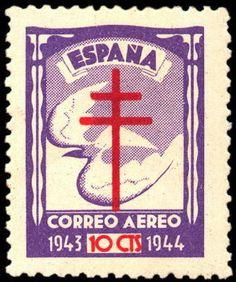 Sello: Dove & Cross of Lorraine (España) (Pro-tuberculosis) Mi:ES Z34,Yt:ES PA226,Edi:ES 973