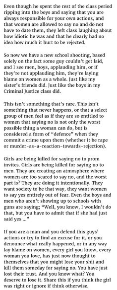 An interesting read. Honestly, it's fucked up when society makes a girl feel like she could be putting herself in danger simply for saying no.