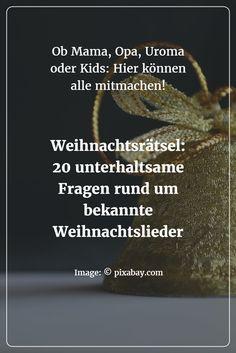 Diese 20 unterhaltsamen Quizfragen rund um deutsche (und internationale) Weihnachtslieder eignen sich für die ganze Familie: Ob Uroma, Großvater, Papa, Großtante Ilse oder die Kinder - ob Jung oder Alt, alle können mitspielen und ihr Wissen testen!