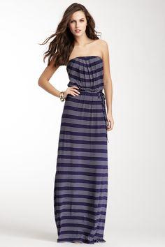 Strapless Print Maxi Dress