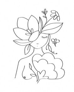 Line Art Flowers, Flower Art, Doodle Art, Embroidery Art, Embroidery Patterns, Simple Line Drawings, Wreath Drawing, Doodle Lettering, Diy Canvas Art
