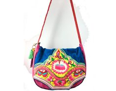 Pink Blue Foral Embroidery Hmong Tribal Cross Body Bag Satchel Shoulder Bag