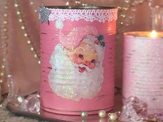 Pink Christmas Vase Tin Can Shabby Chic Santa Father Xmas Tree
