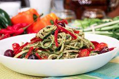 Warm/Cold Zucchini Noodles With Pesto