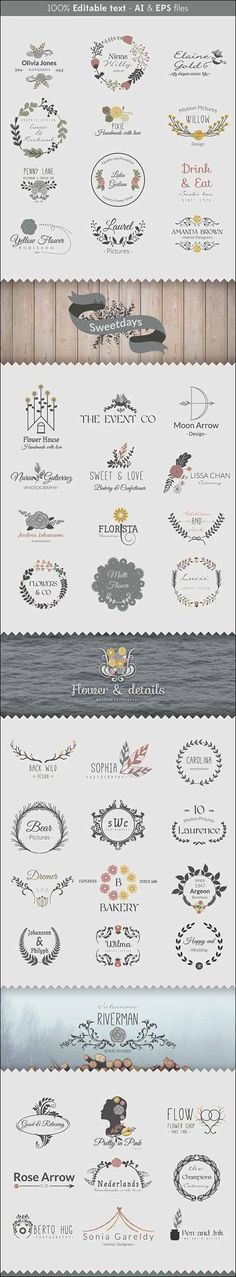 The Floral Logo Templates available in AI, EPS and vector format. Free for both personal and business purpose. Floral Logo, Free Graphics, Free Logo, Photography Logos, Logo Templates, Layout Design, Digital Scrapbooking, Photoshop, Creative