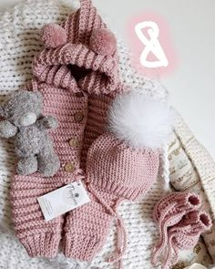 crochet pattern coming home outfit Pretty bear Expecting for baby boy gift pregnancy reveal gender party shower with hand newborn giftbox Winter Baby Clothes, Knitted Baby Clothes, Baby Kids Clothes, Crochet Clothes, Baby Knitting Patterns, Baby Patterns, Crochet Patterns, Baby Bunny Costume, Bebe Video