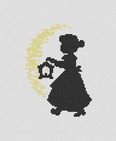 Silhouette of Little Girl With Lantern. PDF Cross Stitch Pattern. $4.00, via Etsy.: