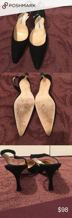 Manolo blahnik black suede pointed toe heels sling Manolo blahnik black suede heels with sling bag. Worn once. NO SIGNS OF WEAR ABOVE SOLES!! Comes with original box. Bought from bergdorfs Manolo Blahnik Shoes Heels