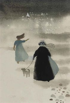 """Mary Fedden, R. 'Farewell' signed and inscribed by Mary Fedden. """"I have always liked the romantic feeling of 'Farewell' and have painted it in many different forms. Painting & Drawing, Watercolor Paintings, Watercolours, Paintings I Love, Art Paintings, A Level Art, Naive Art, Illustration Art, Art Illustrations"""