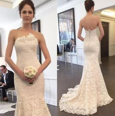 Strapless Wedding Dress, Mermaid Wedding Dress, Lace