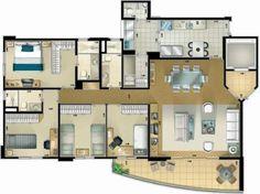 Pinterest: @claudiagabg | Apartamento 4 cuartos despensa