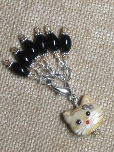 Black Stitch Markers with Beaded Cat Holder Clip