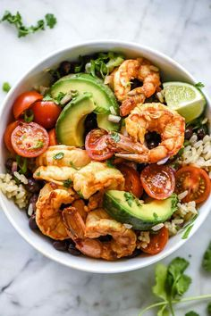 food with love rezepte Chipotle Lime Shrimp Bowls Healthy Meal Prep, Healthy Dinner Recipes, Mexican Food Recipes, Healthy Snacks, Cooking Recipes, Vegan Meals, Keto Recipes, Healthy Mexican Food, Smoker Recipes