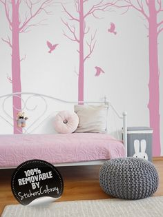 Woodland Wall Decor owls on trees wall decal, trees wall decor, removable, woodland