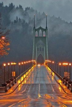 Dawn at the St. Johns Bridge spanning the Willamette River in north Portland, Oregon.