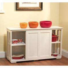 Sliding Wood Doors Stackable Storage Cabinet, Antique White