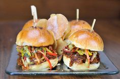 Jägermeister BBQ'd Pulled Pork Sliders with Jicama-Avocado Slaw Recipe on Yummly Yummy Drinks, Yummy Food, Pulled Pork Sliders, Bbq, Tacos And Burritos, Slaw Recipes, Dinner Is Served, Smoking Meat, Cooking