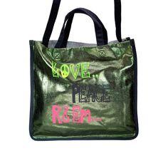 R EM Love Peace Tote from littleblackbag.com  :: Metallic green:: Handbag:: Tote