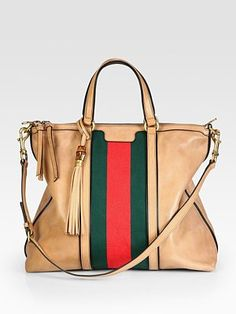 "Gucci - Rania Leather Top Handle Bag - Saks.com. I can't help but love the iconic ""girth"" mixed with gorgeous leather."
