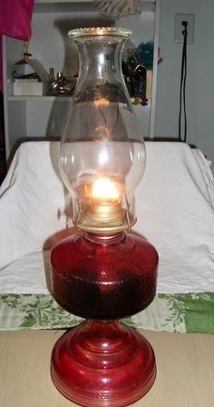 Vintage Ruby Glass Hurricane Oil Lamp w/ Eagle Burner Works Great Only 32 USD
