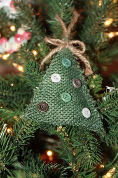 Burlap Christmas tree ornament: set of 4
