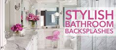 Make your bathroom sink the focal point by surrounding it with a stunning backsplash. Get creative when your choosing materials and fixtures. Bath Trends, Kitchen Backsplash, Kitchen And Bath, Bathrooms, Home Improvement, Articles, Stylish, Creative, Modern