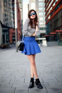 Blue skirt that's structured and kinda flowy.
