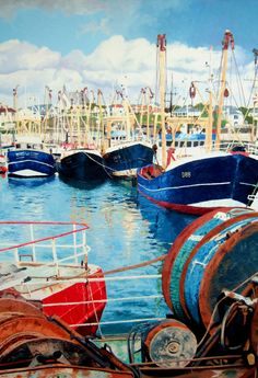 Kilmore Quay Trawlers II, wexford, Ireland.Oil on canvas.by Irish artist Laura Gibney.