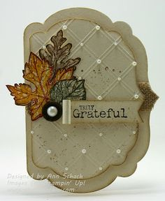handmade Thanksgiving card fromThe Stampin' Schach ... shaped card using labels dies ... elegant look with pearls on crossing of embossing folder diamonds ... Stampin' Up!