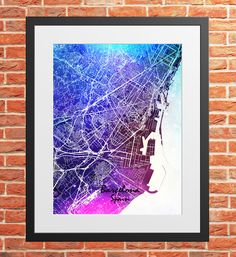 Barcelona Water Color City Map Print Digital Download, Spain, Street Map Art,map print, map poster,print map art travel, City Map Wall Art Map Wall Art, Map Art, Print Map, Poster Prints, Barcelona City Map, Printing Services, Online Printing, Travel City, Maps
