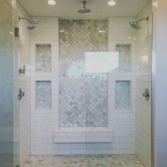 love! inset marble subway tile and white subway tile, double shower, marble tile floor by jeri