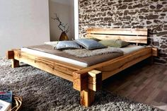 Jazz solid wood bed / beam bed wild oak oiled - 160 x 200 cm furniture-one furniture . Home Gym Design, Wood Beds, Double Beds, How To Make Bed, Bed Frame, Solid Wood, Decoration, Bedroom, Furniture