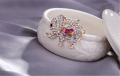 Simple Fashion Micro Pave AAA Zirconia Rose Gold Plated Elephant Brooch
