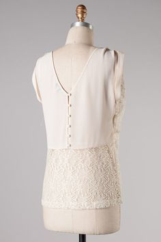 Lace Anna Top in Soft Ivory