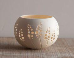 Keramik-Kerze-Halter Löwenzahn Design. Porzellan Tee Light von wapa