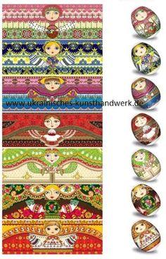 Ostereier Folie Zauberfolie mit 7 versch.Mustern Nr.43 Alte Ukrainische Malerei