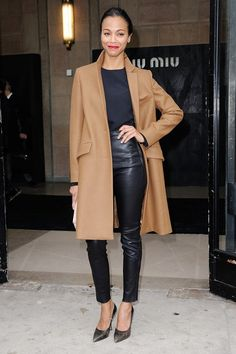 chic camel coat and leather trouser combo. I never thought leather pants could look so classy