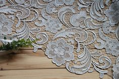 Silver Lace Fabric Crocheted Gowns Embroidered Flowers by QFabrics, $35.00