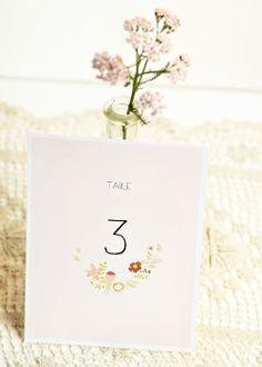 imprimible gratis numeros de mesa boda flores