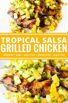 Tropical Salsa Grilled Chicken Dinner has never looked so summery or tasted as good. This Tropical Salsa Grilled Chicken is a colorful entree that is sure to impress! Plus it's dairy free, gluten free, and compliant. Dairy Free Recipes, Paleo Recipes, Gluten Free Recipes Summer, Xmas Recipes, Cooking Recipes, Gluten Free Dinner, Kitchen Recipes, Salsa, Clean Eating Snacks
