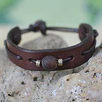 Men's leather wristband bracelet, 'Brown Standout' #men'sjewelry