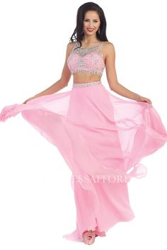 This beautiful prom floor length 2 piece party dress features sleeveless, illusion neckline beaded rhinestones on top and long pleated chiffon skirt. Long Chiffon Skirt, Chiffon Dress, Affordable Prom Dresses, Prom Dress Shopping, Trendy Collection, Two Piece Dress, Bridal Outfits, Homecoming Dresses, Dresses Online