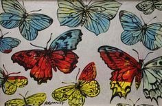 "DAVID BROMLEY ""Butterflies"" Polymer and Silver Leaf Painting 77cm x 119cm FRAMED"