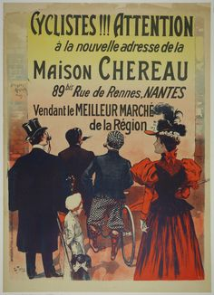 Cyclistes!!! Attention  Charles Tichon France - c. 1895 36 x 51 in (91 x 130 cm) $750 #cyclists #bike #vintageopster #Tichon #belleepoch