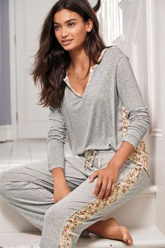 Buy Grey Ditsy Floral Woven Pyjamas from the Next UK online shop Cute Sleepwear, Sleepwear Women, Pajamas Women, Night Outfits, Fashion Outfits, Women's Fashion, Pijama Satin, Cute Christmas Pajamas, Pajama Outfits