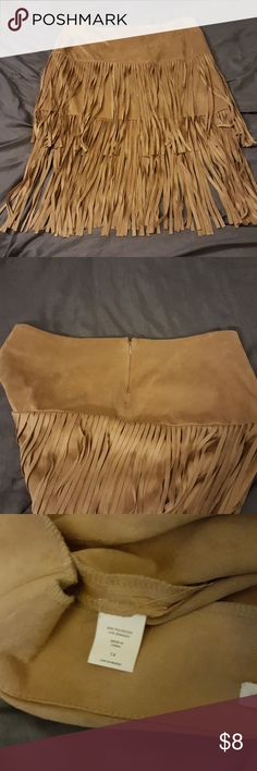 Fringed faux suede skirt Adorable New York and Co fringed skirt, worn once, 90% polyester and 10% spandex New York & Company Skirts