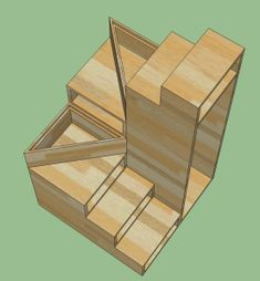 U shape under storage small footprint DIY wooden staircase for tiny house (opt . - U shape under storage small footprint DIY wooden staircase for tiny house (opt … # diy - Tiny House Stairs, Loft Stairs, Building A Tiny House, Tiny House Living, Tiny House Plans, Tiny House On Wheels, Stairs For Attic, House Ladder, Small Staircase